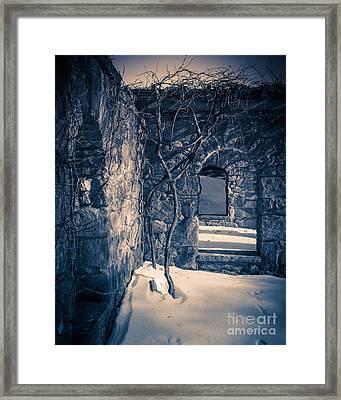 Snowy Ruins At Night Framed Print by Edward Fielding