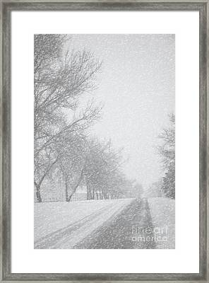 Snowy Rural Road Framed Print by Birgit Tyrrell