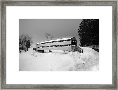 Snowy Sachs Covered Bridge In Black And White Framed Print by Bill Cannon