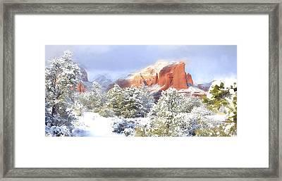 Snowy Sedona Panorama Framed Print