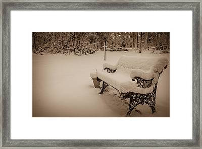 Framed Print featuring the photograph Snowy Sepia by Glenn DiPaola