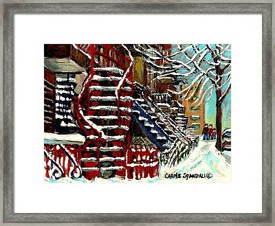 Snowy Steps The Red Staircase In Winter In Verdun Montreal Paintings City Scene Art Carole Spandau Framed Print