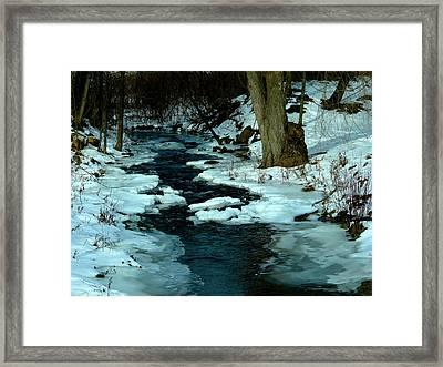 Snowy Stream Framed Print