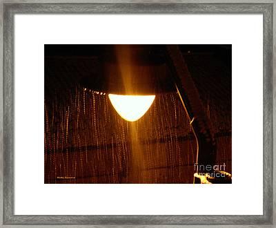 Snowy Street Lamp Framed Print by Ramona Matei