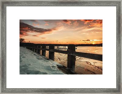 Snowy Sunset In Northport New York Framed Print