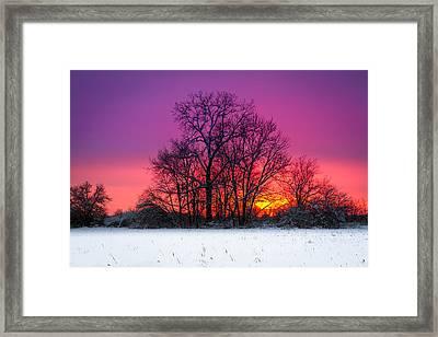Snowy Sunset Framed Print