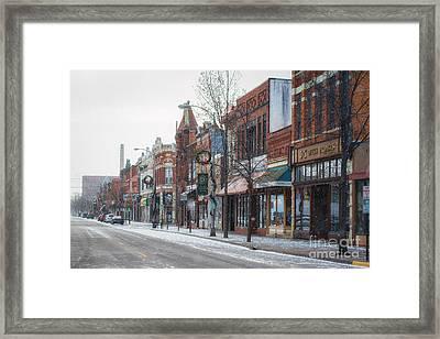 Snowy Third Street Downtown Winona II Framed Print