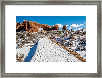 Snowy Trail To The North Window Framed Print by Bob and Nancy Kendrick