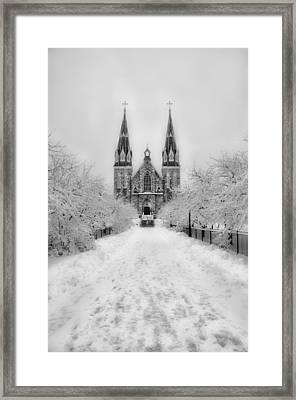 Snowy Villanova In Black And White Framed Print