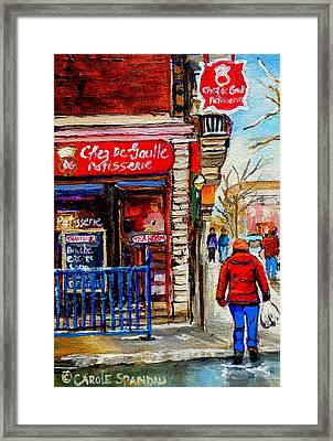 Snowy Walk By The Tea Room And Pastry Shop Winter Street Montreal Art Carole Spandau  Framed Print by Carole Spandau