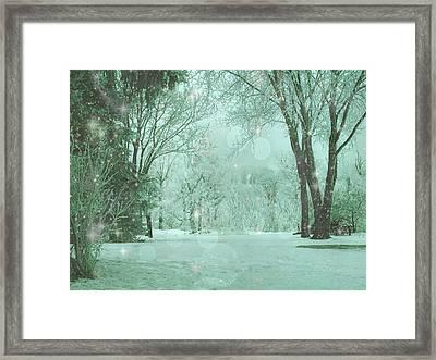 Snowy Winter Night Framed Print by Mary Wolf