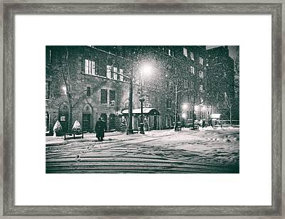 Snowy Winter Night - Sutton Place - New York City Framed Print