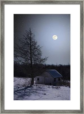 Framed Print featuring the photograph Snowy Winter Shed by Larry Landolfi