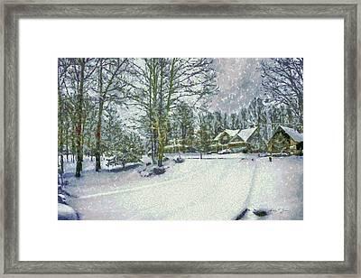 Snowy Winter's Day Framed Print by Barry Jones