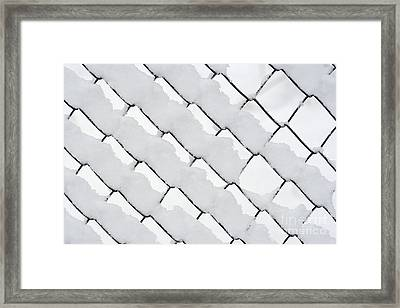Snowy Wire Netting Framed Print by Michal Boubin