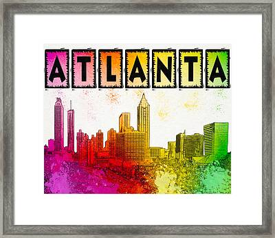 So Atlanta - Colorful Skyline Framed Print by Mark E Tisdale