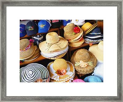 So Crazy For Hats Amalfi Market Italy Summer Framed Print by Irina Sztukowski