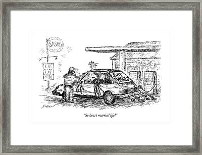 So How's Married Life? Framed Print by Edward Koren