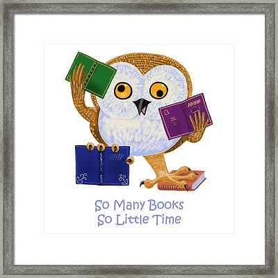 Framed Print featuring the painting So Many Books So Little Time by Leena Pekkalainen