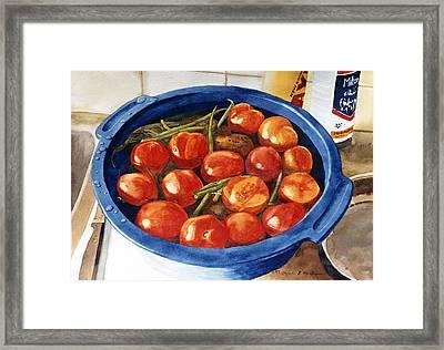 Soaking Tomatoes Framed Print