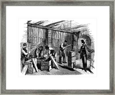 Soap Factory Packing Framed Print by Science Photo Library