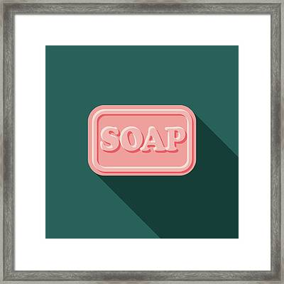 Soap Flat Design Cleaning Icon With Framed Print