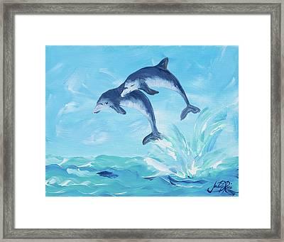 Soaring Dolphins I Framed Print by Julie Derice