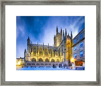 Soaring Perpendicular Gothic Architecture Of Bath Abbey Framed Print by Mark E Tisdale
