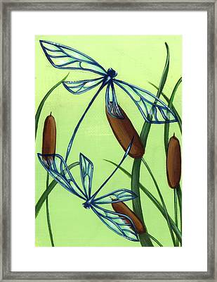 Soaring Through The Cat Tails Framed Print by Elaina  Wagner