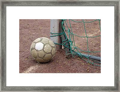 Soccer Ball And Goal Framed Print