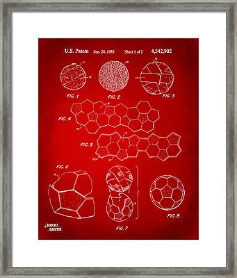 Soccer Ball Construction Artwork - Red Framed Print by Nikki Marie Smith