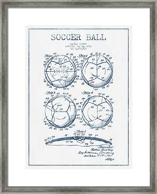 Soccer Ball Patent Drawing From 1932 - Blue Ink Framed Print