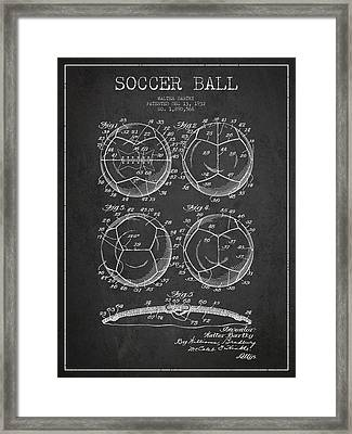Soccer Ball Patent Drawing From 1932 - Dark Framed Print