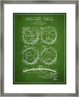 Soccer Ball Patent Drawing From 1932 - Green Framed Print