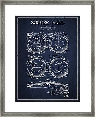 Soccer Ball Patent Drawing From 1932 - Navy Blue Framed Print by Aged Pixel
