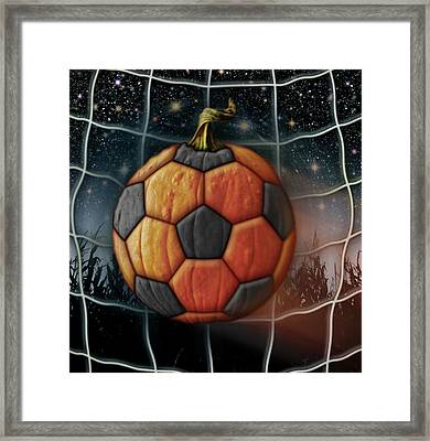 Soccer Ball Pumpkin Framed Print