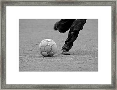 Soccer - Boy Is Kicking A Football - Black And White Framed Print