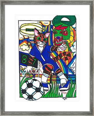 Soccer Cat Framed Print by Artists With Autism Inc
