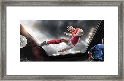 Soccer Kick Framed Print by Peepo