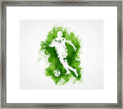 Soccer Player Framed Print by Aged Pixel