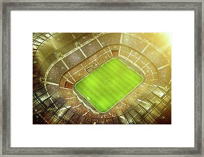 Soccer Stadium Bird Eye View Framed Print by Dmytro Aksonov
