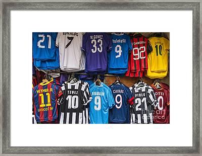 Soccer Star Jerseys Framed Print by John Greim