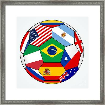 soccer with various flags - Brazil 2014 Framed Print by Michal Boubin