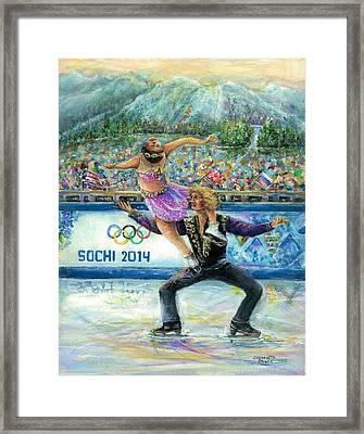Sochi 2014 - Ice Dancing Framed Print by Bernadette Krupa