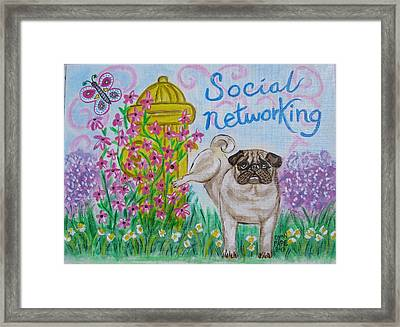 Social Networking Pug Framed Print by Diane Pape