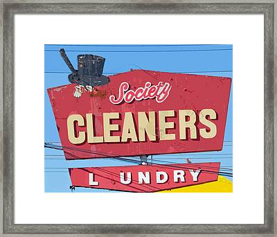 Society Cleaners Framed Print by Charlette Miller