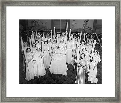 Society Girls At Birthday Ball Framed Print by Underwood Archives