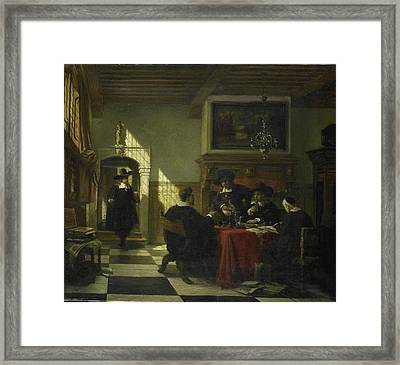 Society In 17th-century Costume At A Table On Which Framed Print by Litz Collection