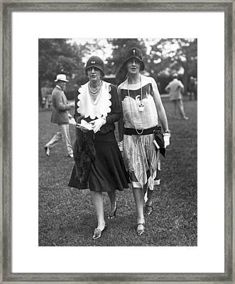 Society Women At Belmont Park Framed Print by Underwood Archives