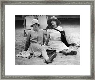 Society Women At The Beach Framed Print